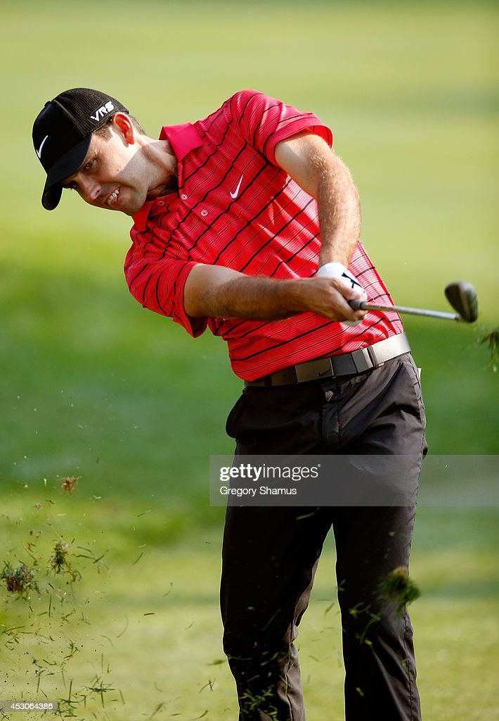 Charl Schwartzel of South Africa hits off the first fairway during the third round of the World Golf Championships-Bridgestone Invitational at Firestone Country Club South Course on August 2, 2014 in Akron, Ohio.