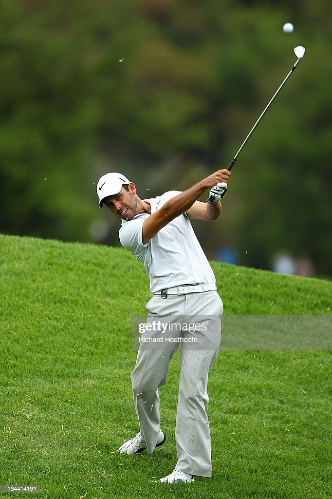 Charl Schwartzel of South Africa in action during the first round of the Nedbank Golf Challenge at the Gary Player Country Club on December 1 2011 in...