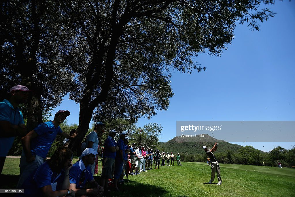 Charl Schwartzel of South Africa in action during the first round of the Nedbank Golf Challenge at the Gary Player Country Club on November 29, 2012 in Sun City, South Africa.