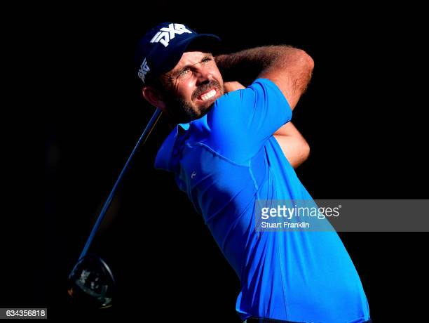 Charl Schwartzel of South Africa plays a shot during Day One of the Maybank Championship Malaysia at Saujana Golf Club on February 9 2017 in Kuala...