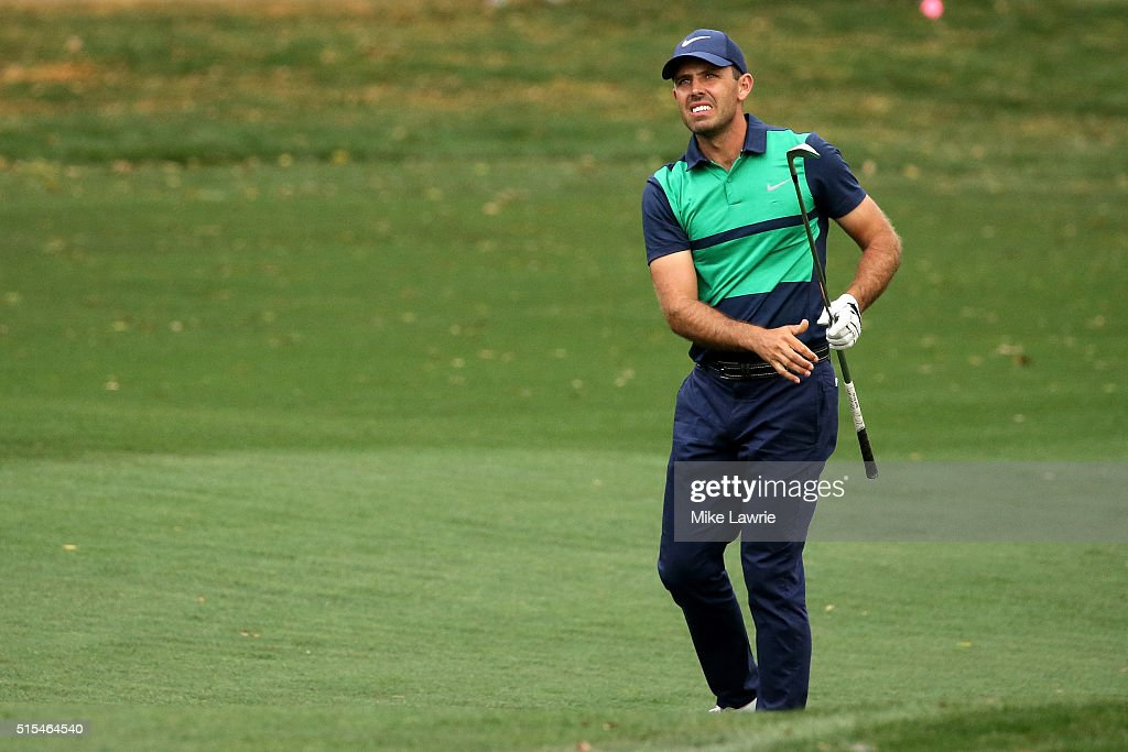 Charl Schwartzel of South Africa plays a shot on the 18th fairway and first playoff hole during the final round of the Valspar Championship at...