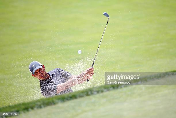 Charl Schwartzel of South Africa plays a shot on the second hole during the final round of the Memorial Tournament presented by Nationwide Insurance...