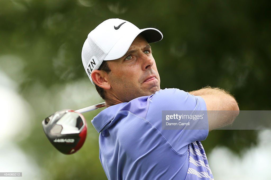 Charl Schwartzel of South Africa plays his shot from the 11th tee during the final round of The Barclays at The Ridgewood Country Club on August 24, 2014 in Paramus, New Jersey.