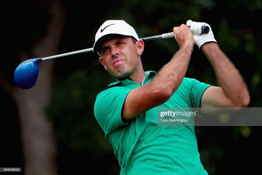 <a gi-track='captionPersonalityLinkClicked' href=/galleries/search?phrase=Charl+Schwartzel&family=editorial&specificpeople=213793 ng-click='$event.stopPropagation()'>Charl Schwartzel</a> of South Africa plays his shot from the 12th tee during the First Round of the DEAN & DELUCA Invitational at Colonial Country Club on May 26, 2016 in Fort Worth, Texas.