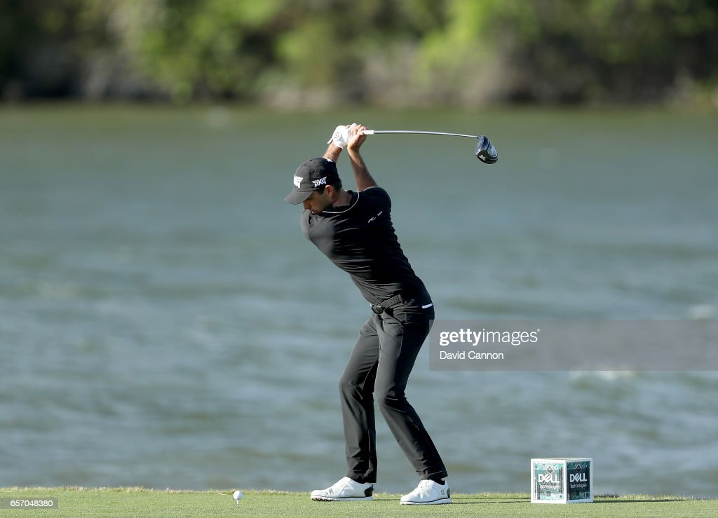 Charl Schwartzel of South Africa plays his tee shot on the par 4, 14th hole in his match against Joost Luiten during the second round of the 2017 Dell Match Play at Austin Country Club on March 23, 2017 in Austin, Texas.