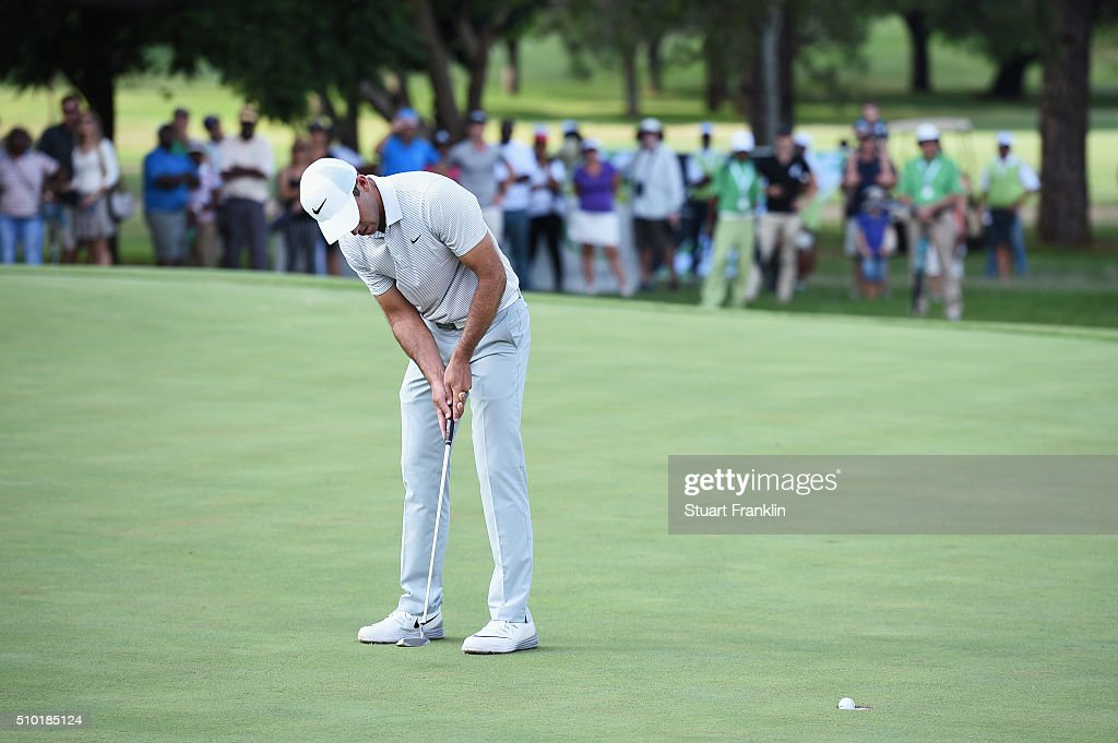 <a gi-track='captionPersonalityLinkClicked' href=/galleries/search?phrase=Charl+Schwartzel&family=editorial&specificpeople=213793 ng-click='$event.stopPropagation()'>Charl Schwartzel</a> of South Africa putts on the 18th green to win the Tshwane Open at Pretoria Country Club on February 14, 2016 in Pretoria, South Africa.