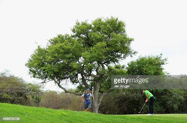 Charl Schwartzel of South Africa putts on the 2nd green during day two of the Alfred Dunhill Championship at Leopard Creek Country Golf Club on...