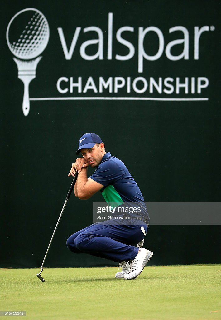 Charl Schwartzel of South Africa reacts after a putt on the 18th green during the final round of the Valspar Championship at Innisbrook Resort Copperhead Course on March 13, 2016 in Palm Harbor, Florida.