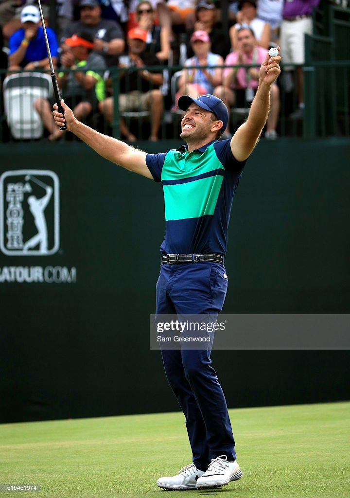Charl Schwartzel of South Africa reacts after a putt on the first playoff hole on the 18th green to win the Valspar Championship during the final round at Innisbrook Resort Copperhead Course on March 13, 2016 in Palm Harbor, Florida.