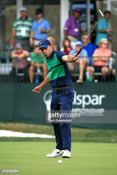 Charl Schwartzel of South Africa reacts to a birdie putt on the 17th green during the final round of the Valspar Championship at Innisbrook Resort...