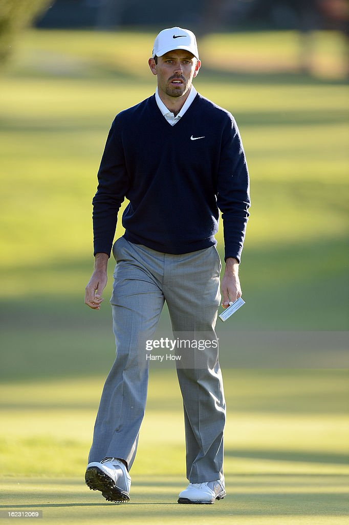 Charl Schwartzel of South Africa reacts to his putt on the second green during the second round of the Northern Trust Open at the Riviera Country Club on February 15, 2013 in Pacific Palisades, California.