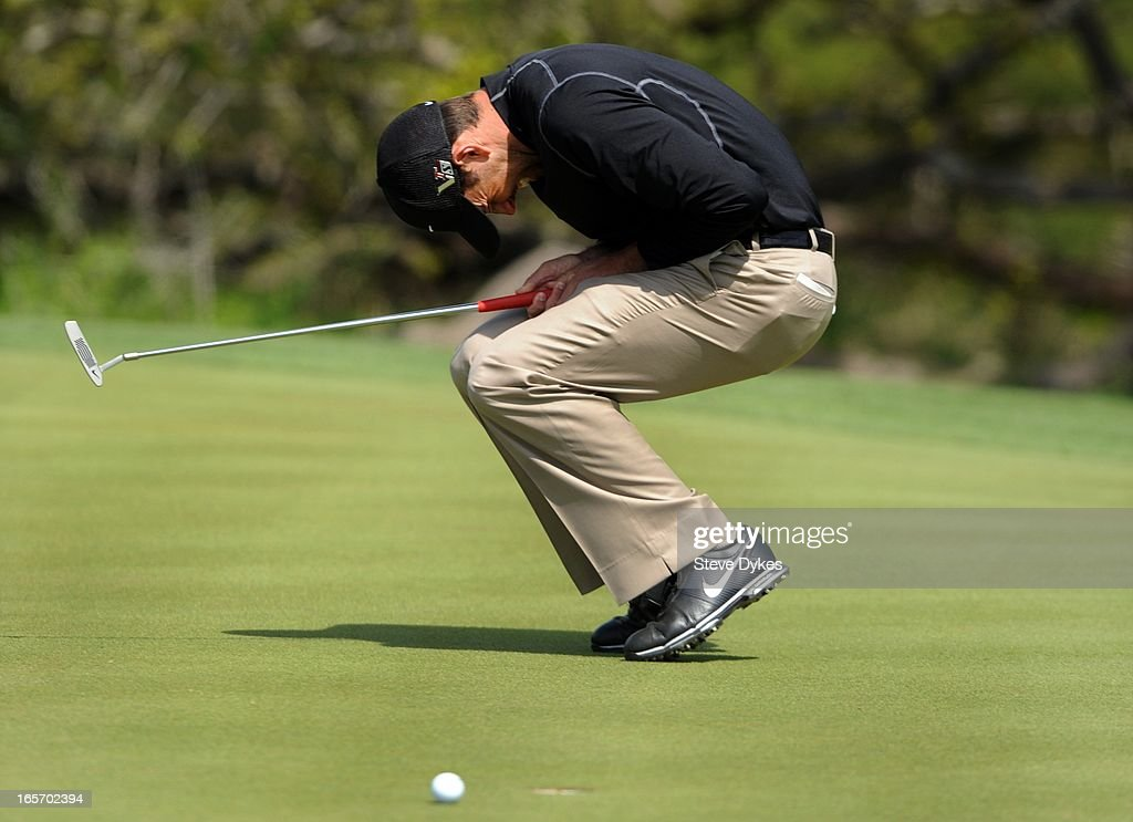 Charl Schwartzel of South Africa reacts to missing his birdie putt on the 6th hole during the second round of the Valero Texas Open at the AT&T Oaks Course at TPC San Antonio on April 05, 2013 in San Antonio, Texas.