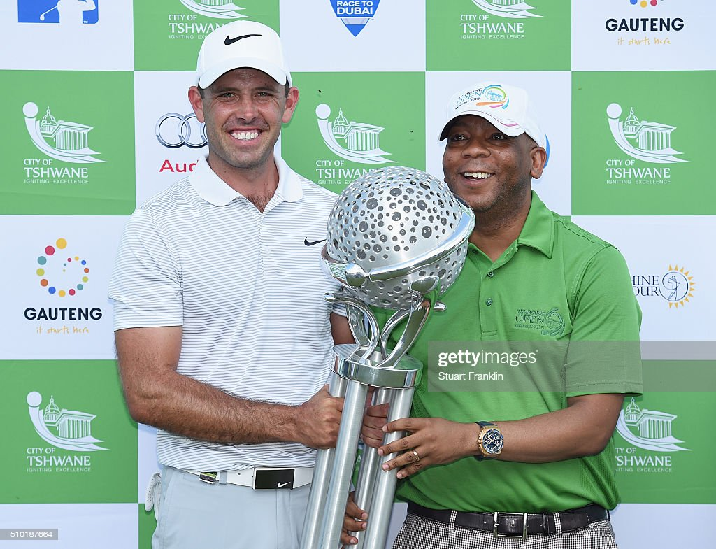 <a gi-track='captionPersonalityLinkClicked' href=/galleries/search?phrase=Charl+Schwartzel&family=editorial&specificpeople=213793 ng-click='$event.stopPropagation()'>Charl Schwartzel</a> of South Africa receives the trophy after his victory in the final round of the Tshwane Open at Pretoria Country Club on February 14, 2016 in Pretoria, South Africa.