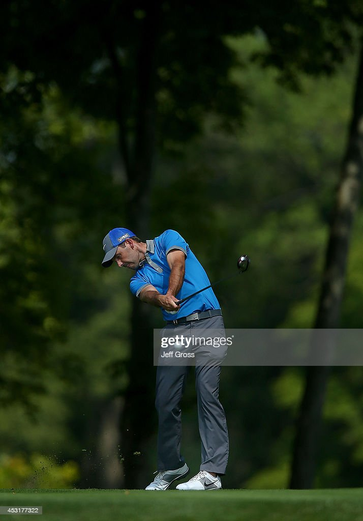 Charl Schwartzel of South Africa tees off during a practice round prior to the start of the 96th PGA Championship at Valhalla Golf Club on August 4, 2014 in Louisville, Kentucky.