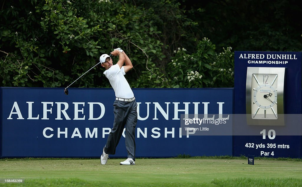 Charl Schwartzel of South Africa tees off on the 10th hole during the final round of the Alfred Dunhill Championship at Leopard Creek Country Golf Club on December 16, 2012 in Malelane, South Africa.