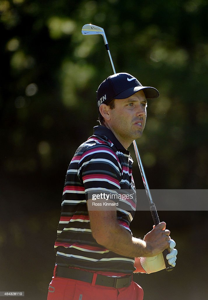 Charl Schwartzel of South Africa tees off on the 11th during the first round of the Deutsche Bank Championship at the TPC Boston on August 29, 2014 in Norton, Massachusetts.
