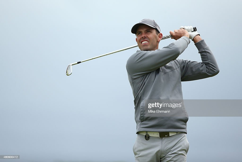 <a gi-track='captionPersonalityLinkClicked' href=/galleries/search?phrase=Charl+Schwartzel&family=editorial&specificpeople=213793 ng-click='$event.stopPropagation()'>Charl Schwartzel</a> of South Africa tees off on the 11th hole during the first round of the 144th Open Championship at The Old Course on July 16, 2015 in St Andrews, Scotland.