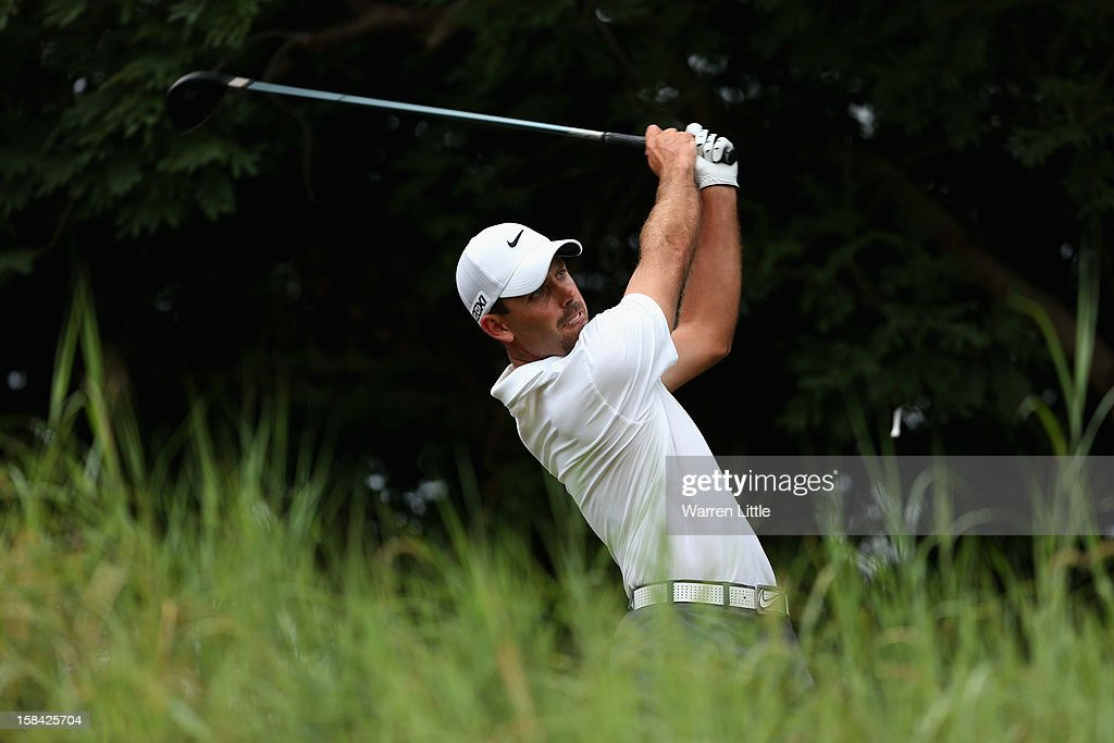 Charl Schwartzel of South Africa tees off on the 14th hole during the final round of the Alfred Dunhill Championship at Leopard Creek Country Golf Club on December 16, 2012 in Malelane, South Africa.