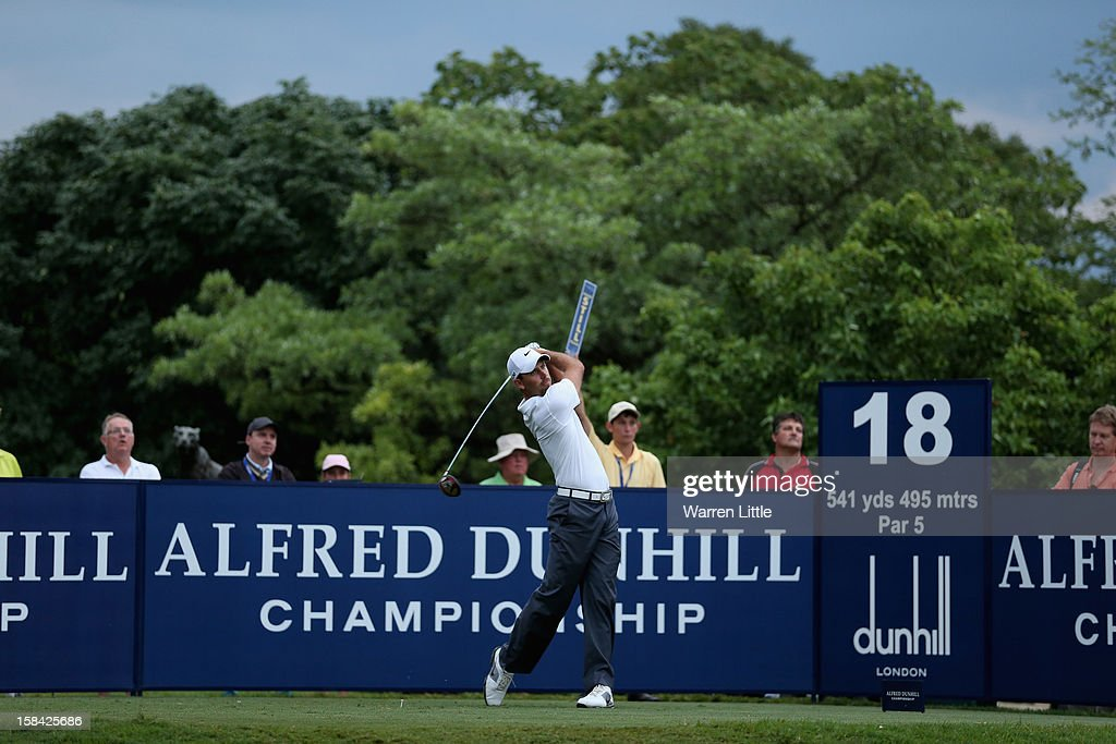 Charl Schwartzel of South Africa tees off on the 18th hole during the final round of the Alfred Dunhill Championship at Leopard Creek Country Golf Club on December 16, 2012 in Malelane, South Africa.