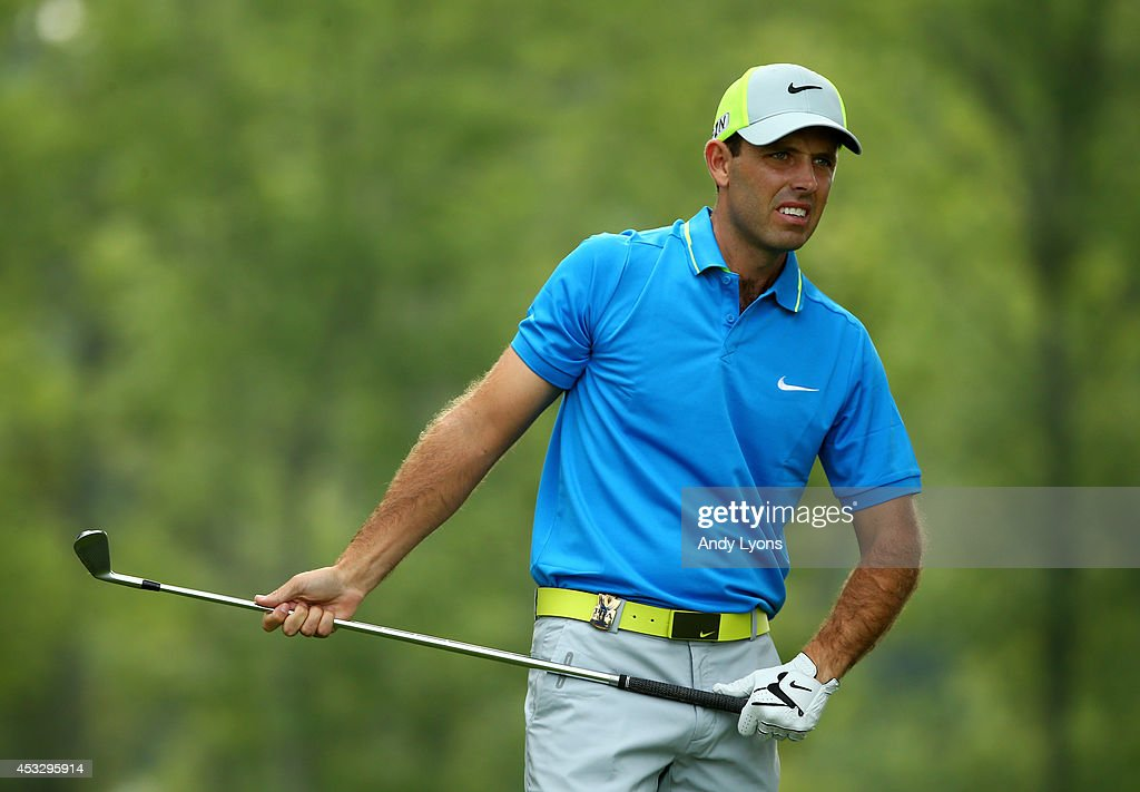 Charl Schwartzel of South Africa watches his tee shot on the 12th hole during the first round of the 96th PGA Championship at Valhalla Golf Club on August 7, 2014 in Louisville, Kentucky.