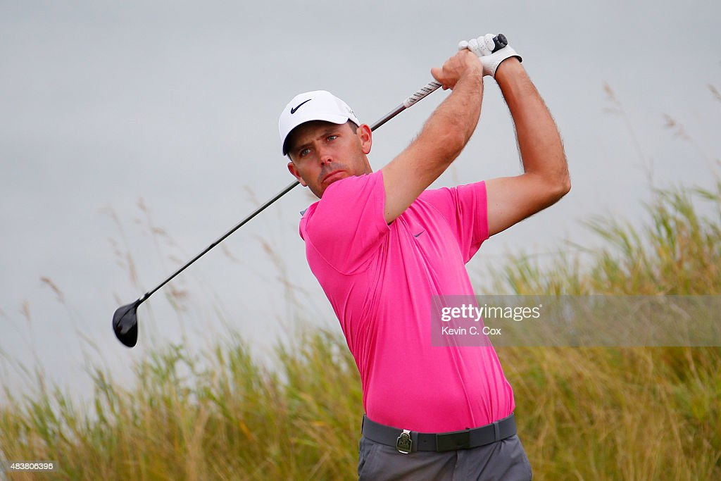 <a gi-track='captionPersonalityLinkClicked' href=/galleries/search?phrase=Charl+Schwartzel&family=editorial&specificpeople=213793 ng-click='$event.stopPropagation()'>Charl Schwartzel</a> of South Africa watches his tee shot on the 13th hole during the first round of the 2015 PGA Championship at Whistling Straits on August 13, 2015 in Sheboygan, Wisconsin.