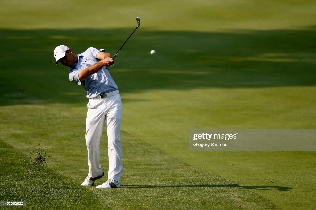 Charl Shcwartzel of South Africa plays a shot during the second round of the World Golf Championships-Bridgestone Invitational at Firestone Country Club South Course on August 1, 2014 in Akron, Ohio.