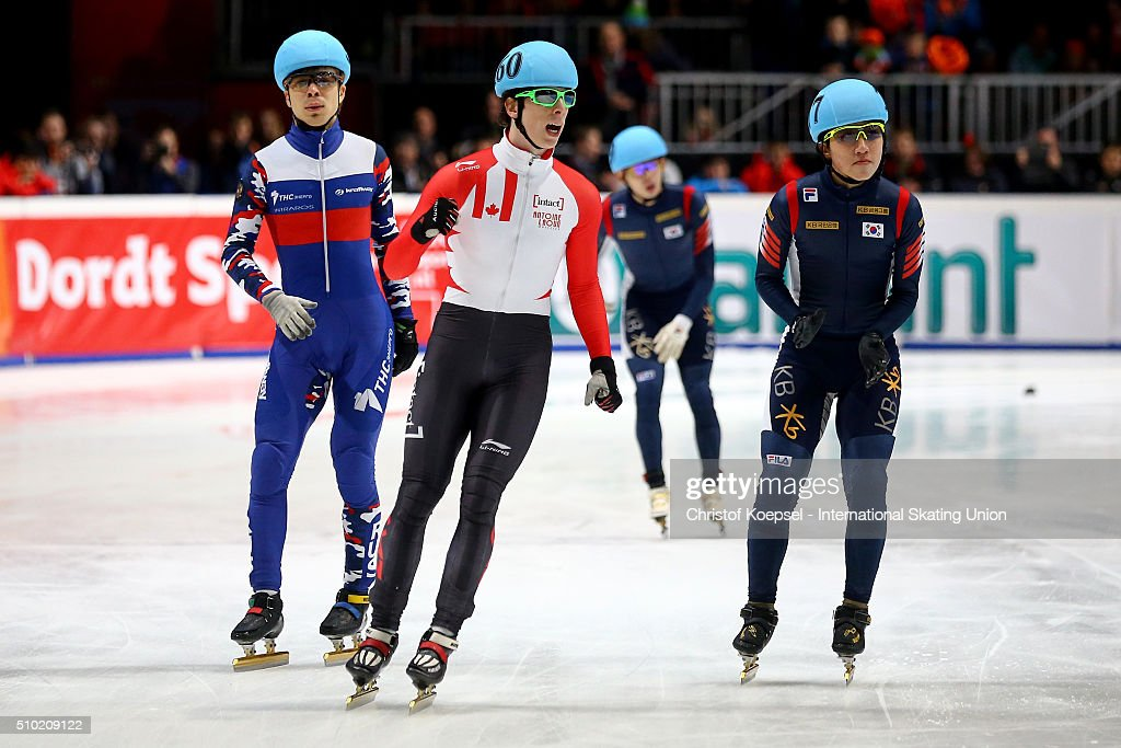 <a gi-track='captionPersonalityLinkClicked' href=/galleries/search?phrase=Charle+Cournoyer&family=editorial&specificpeople=11622477 ng-click='$event.stopPropagation()'>Charle Cournoyer</a> of Canada celebrates his victory of the men 1000m second race final A during Day 3 of ISU Short Track World Cup at Sportboulevard on February 14, 2016 in Dordrecht, Netherlands.