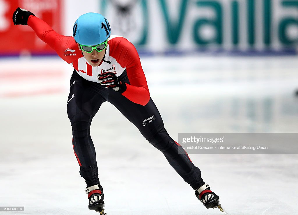 <a gi-track='captionPersonalityLinkClicked' href=/galleries/search?phrase=Charle+Cournoyer&family=editorial&specificpeople=11622477 ng-click='$event.stopPropagation()'>Charle Cournoyer</a> of Canada skates during the men 1000m second race final A during Day 3 of ISU Short Track World Cup at Sportboulevard on February 14, 2016 in Dordrecht, Netherlands.