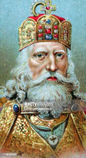 Charlemagne 747814 king of the Franks crowned Christian emperor of the west in St Peter's Rome on Christmas Day 800 Chromolithograph c1920