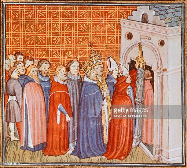 Charlemagne and his retinue entering a church miniature from The Chronicle of Saint Denis manuscript France 14th Century