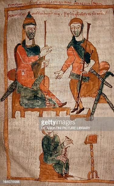 Charlemagne and his son Pippin on the throne miniature from Codex Oi2 folio 154 verso Italy 9th century Modena Archivio Capitolare Di Modena