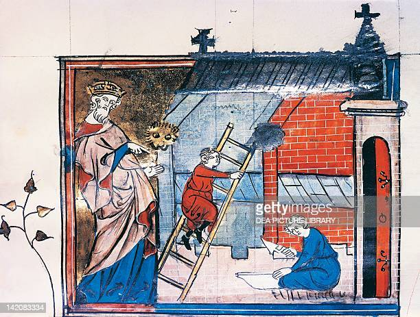 Charlemagne oversees the construction of the Palatine Chapel miniature from the Great Chronicles of France manuscript France 14th Century