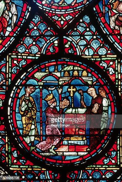 Charlemagne Presenting the Reliquary at the Altar at AixlaChapelle From the Charlemagne Lancet Window at Chartres Cathedral