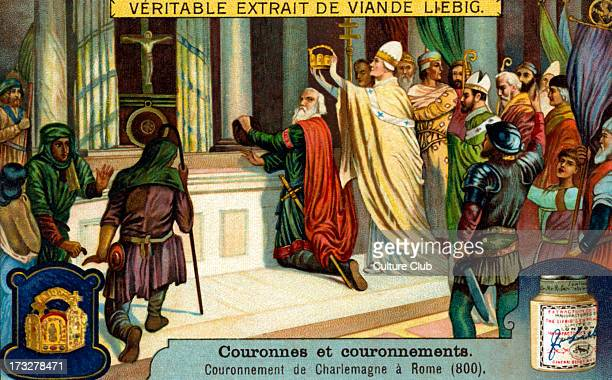 Charlemagne 's coronation in Rome as Holy Roman Emperor by Pope Leo III 25 December 800 Illustration from Liebig collectible card 1913 C C Also known...