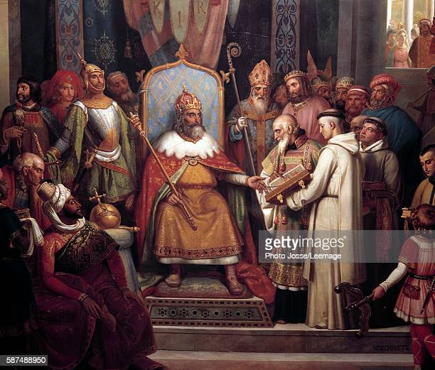 Charlemagne surrounded by his principal officers welcomes Alcuin who shows him manuscripts work of his monks in 781 Detail of the Painting by Jules...