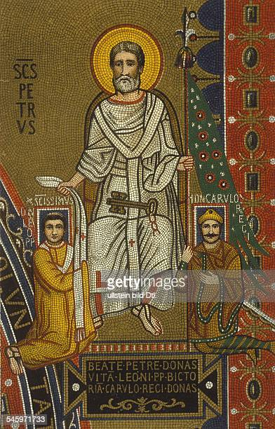 Charlemagne*02047422801814King of the Franks King of Italy Saint Peter hands out the flag to Charlemagne and the stole to Pope Leo III as insignia of...