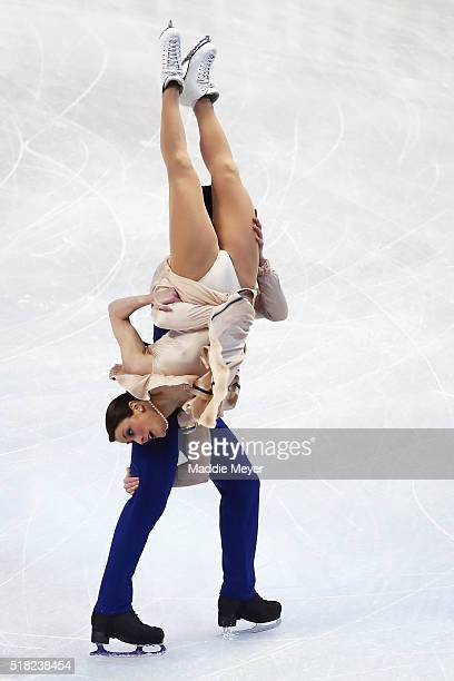 Charlene Guignard and Marco Fabbri of Italy skate in the Ice Dance Short program during day 3 of the ISU World Figure Skating Championships 2016 at...