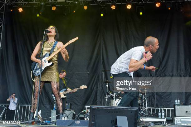 Charlene Kaye and Allen Tate of San Fermin perform on Day Three of Lollapalooza at Grant Park on August 5 2017 in Chicago Illinois