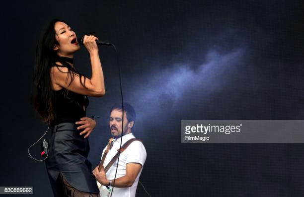 Charlene Kaye and Tyler McDiarmid of San Fermin perform on the Lands End Stage during the 2017 Outside Lands Music And Arts Festival at Golden Gate...