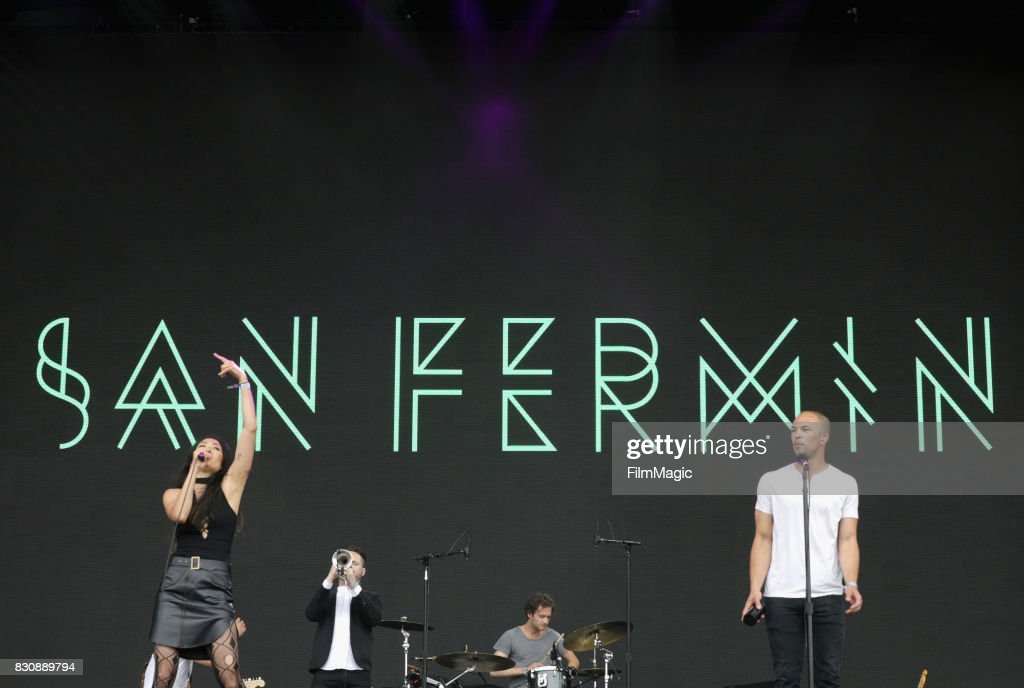 Charlene Kaye, John Brandon, Michael Hanf and Allen Tate of San Fermin perform on the Lands End Stage during the 2017 Outside Lands Music And Arts Festival at Golden Gate Park on August 12, 2017 in San Francisco, California.