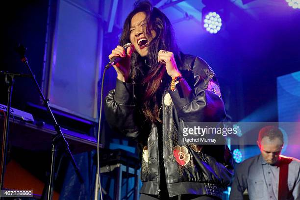 Charlene Kaye of San Fermin onstage during the PANDORA Discovery Den SXSW on March 21 2015 in Austin Texas