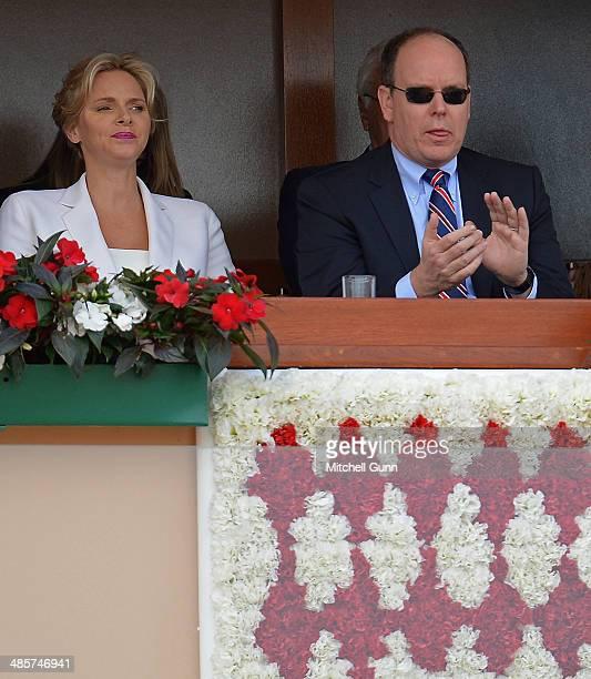 Charlene Princess of Monaco and Albert II Prince of Monaco watch Stanislas Wawrinka of Switzerland playing against Roger Federer of Switzerland...