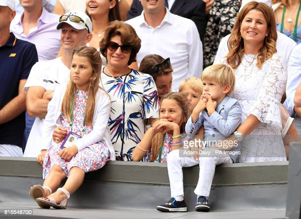 Charlene Riva Federer Myla Rose Federer Lenny Federer Leo Federer with their mother Mirka Federer and grandmother Lynette Federer after Roger Federer...