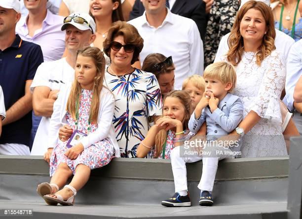 Charlene Riva Federer Myla Rose Federer Lenny Federer Leo Federer with their mother Mirka Federer and grandmother Lynette Federer after Roger Federer...