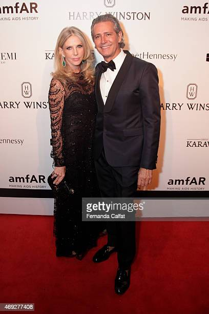 Charlene Shorto and Caca de Souza attend the 5th Annual amfAR Inspiration Gala at the home of Dinho Diniz on April 10 2015 in Sao Paulo Brazil
