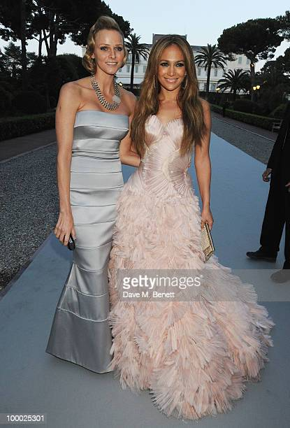 Charlene Wittstock and Jennifer Lopez arrive at amfAR's Cinema Against AIDS 2010 benefit gala at the Hotel du Cap on May 20 2010 in Antibes France