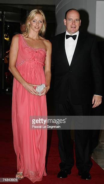Charlene Wittstock and Prince Albert II of Monaco arrive to attend the Gala dinner of the Monaco Formula One Grand Prix at the Monte Carlo sporting...