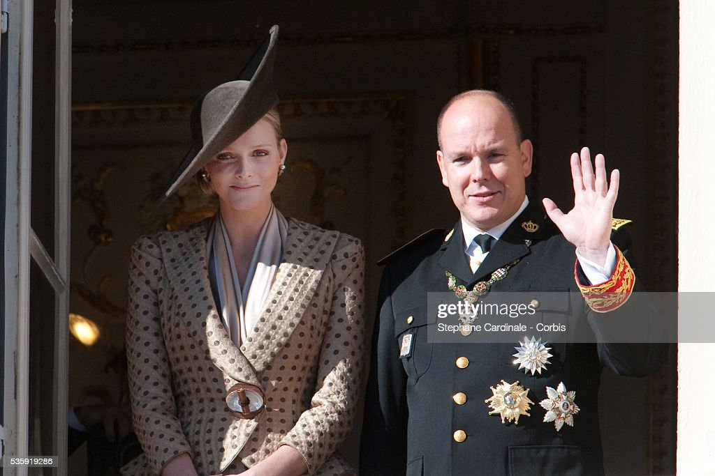 Charlene Wittstock and Prince Albert II of Monaco (R) attend the National Day celebrations on November 19, 2010 in Monaco.