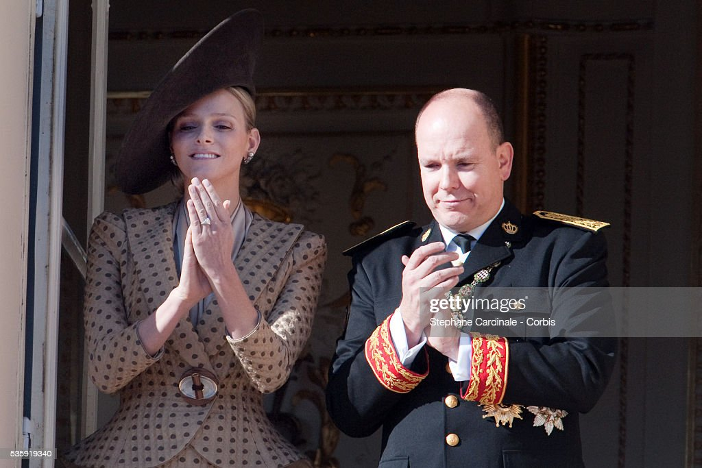 Charlene Wittstock and Prince Albert II of Monaco (R) attend the National Day celebrations 2010 in Monaco.