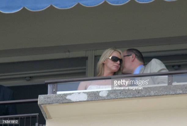 Charlene Wittstock and Prince Albert II of Monaco watch the Monaco Formula One Grand Prix at the Monte Carlo Circuit on May 27 2007 in Monte Carlo...